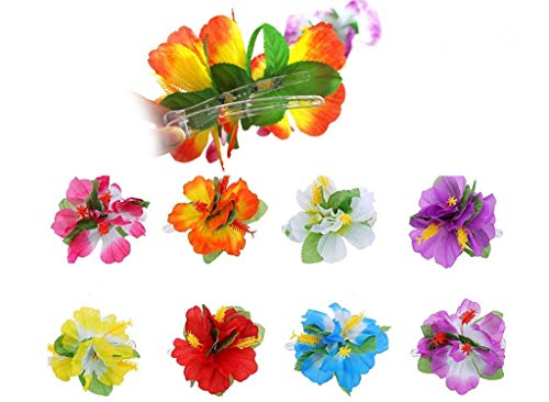 Hawaiian Hibiscus Flower Hair Clip,Fabric Artificial Tropical Flower Hairpin Barrette Hair Accessories for Luau Beach Party(8pcs with Assorted Colors)