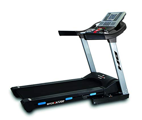BH Fitness Mycron T200 G6426NIMP. Tapis roulant elettrico pieghevole. 20 km/h. 140x51 cm. Inclin. elettrica 12% MAX. Monitor LCD retroilluminato Motore da 3,5 CV