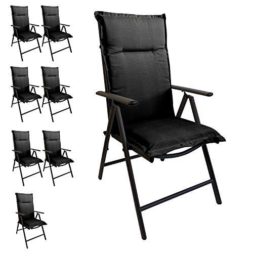 Multistore 2002 8er Set Elegante Gartenstuhlauflage Stuhlauflage Polsterauflage Hochlehner Grau 120x45cm - 5cm dick Sitzauflage Sitzpolsterauflage Sitzkissenpolster