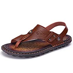 top rated OHCHSH beach sandals men's sandals ring toe flat sandals microfiber shoes leather US9.5 2021