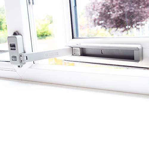 BeeGo Fenstersicherung Kinder für PVC-, Holz-, Metall- und Aluminium-Fensterrahmen, Fenstersicherung Selbstklebend, Kein Werkzeug oder Bohren, Kindersicherung Einfache Installation, (1 Schloss, Grau)