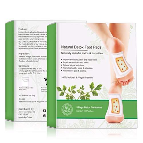 Fußpflaster, Fusspads Detox Pflaster Natürliche Bambuskohle Fußpolster Wermutextrakt und Ingwer Fußaufkleber für besseren Schlaf, fördert die Durchblutung und lindert Müdigkeit