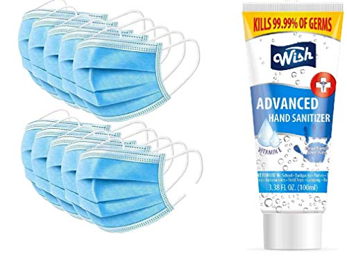 AERO ARMOR 20pc M MAJOR - Q Face Mask 5-Layer Non Medical Masks and Hand Sanitizer 70 percentage Alcohol 100ml
