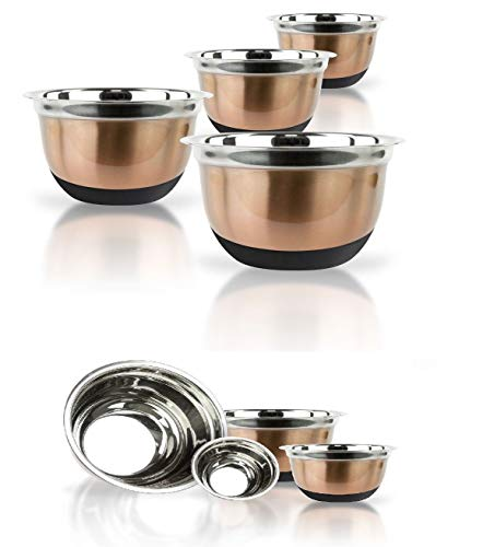 Copper Stainless Steel Mixing Bowl Set W/Silicone Bottoms 4 Piece Nested Bowls Get 4 Pcs
