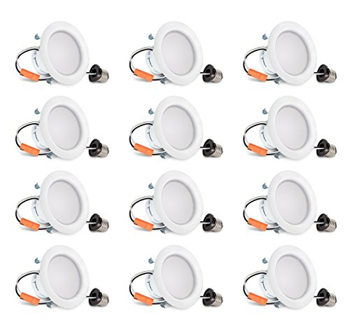 Hyperikon 4 Inch LED Recessed Lighting, 9W=65W, Dimmable Downlight, UL, Energy Star, Daylight White, 12 Pack