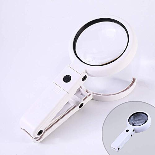 HIGHKAS Lupen, Lupe mit LED-Leuchten Stand Fold Tragbar Super High Clarity Leichtgewicht Leicht zu halten 5/11x Makuladegeneration Lesen Sehbehinderung Inspektion Handwerk