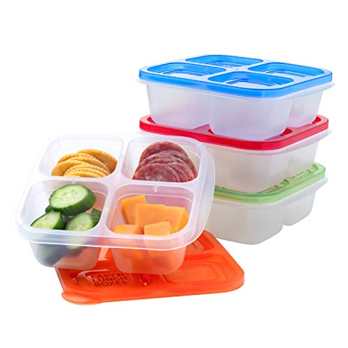 EasyLunchboxes - Bento Snack Boxes - Reusable 4-Compartment Food Containers for School Work and Travel Set of 4 Classic