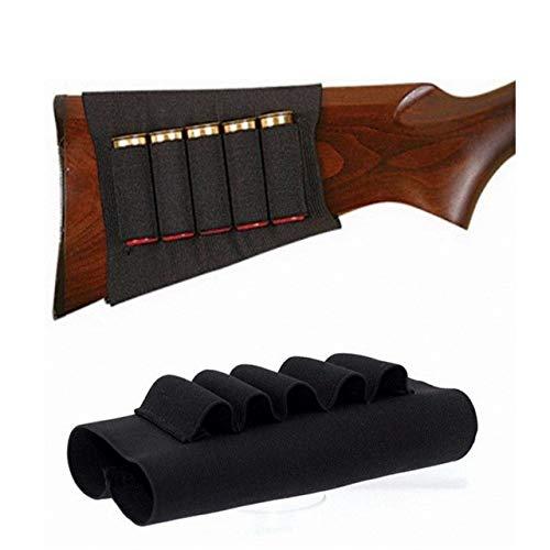Gexgune Rifle Caza Bolsas de Escopeta táctica 5 Cartuchos a Tope Stock Shell Holder Tela elástica Munición Portador Bolsa