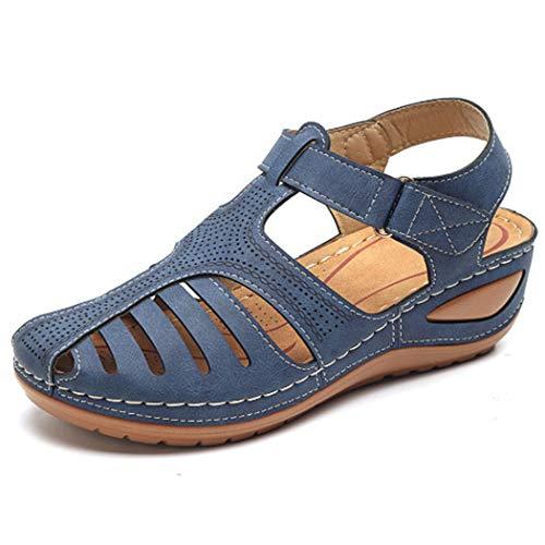 Sandalias de Mujer con Puntera Cerrada y Transpirables, con cuña, Zapatos de Playa Informales, Zapatos Romanos, Zapatos de Verano
