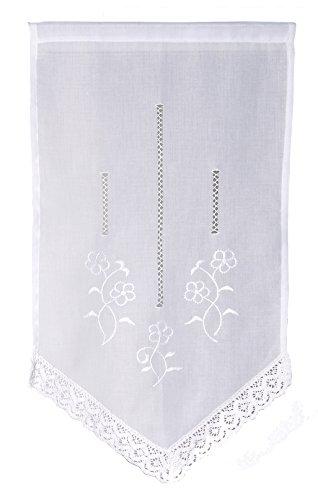 Ciel de France Voilage Vitrage Classique, Polyester, Blanc, 90x45 cm