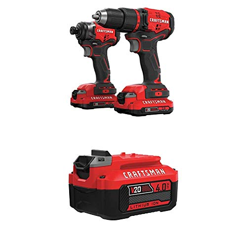 CRAFTSMAN V20 Lithium-Ion Drill and Impact 2-Tool Cordless Combo Kit (CMCK210C2) with 20V 4AH Li-Ion Battery (CMCB204)