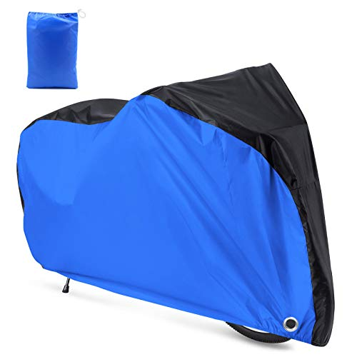 Roctee 190T Bicycle Cover Waterproof Dust Resistant Anti-UV Mountain Road Bike Cover Cycle Cover with Storage Bag, 78.7''(L) 27.6''(W) 43.3''(H) for XL Size, Portable & Durable(Black & Blue)