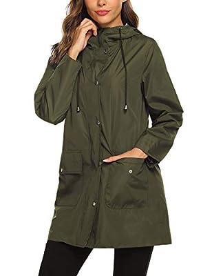 SUNAELIA Rain Jacket Women Waterproof Lightweight Hooded Raincoat Active Outdoor Windbreaker Trench Coat S-XXL (Medium, Army Green)