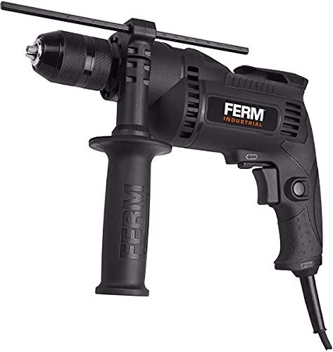 FERM Profi Schlagbohrmaschine 710W - Schnellspannbohrfutter - Mit Soft griff - Seitengriff - Bohrtiefenanschlag - 3m Kabel
