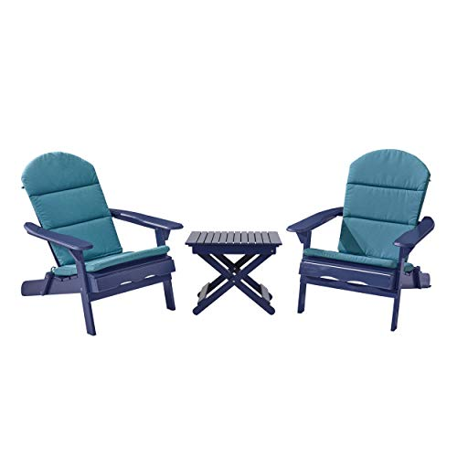 Christopher Knight Home 313022 Charlotte Outdoor 2 Seater Acacia Wood Chat Set with Water Resistant Cushions, Navy Blue + Dark Teal