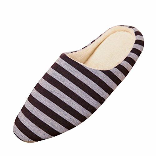 LUOEM Pantoufles d'intérieur Unisexe Doux Chaud Rayures Pantoufles Automne Hiver Pantoufles en Coton pour Hommes Femmes - Taille 42/43 (café)