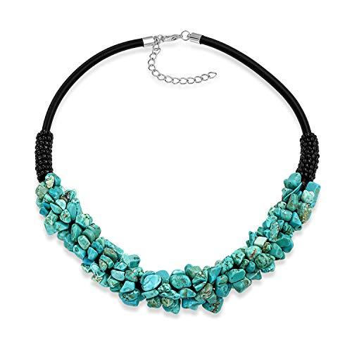 Bling Jewelry Declaración de Moda Amplio Grupo Multicolor Piedra Preciosa Piedra Preciosa Collar Collar para Mujeres Adolescentes de Cuero Falso cordón Ajustable