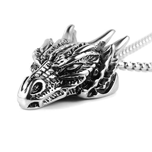 """HZMAN Stainless Steel Dragon Head Pendant Necklace for Men Women Vintage Gothic 22+2"""" Chain (Silver)"""