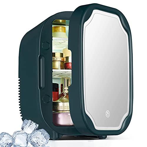 Zxqiang Mini Refrigerador De Maquillaje,8L Refrigerador Cosmético para El Cuidado De Piel,Refrigerador De Belleza con Espejo Iluminación Led,Calentador Termoeléctrico De Belleza Portátil AC/DC,Blue