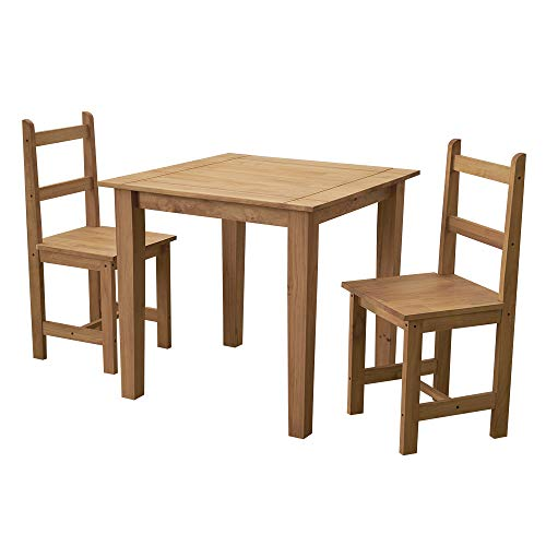 Solid Pine Wood Dining Table Set with 2 High Back Chair Mexican Style for Kitchen Dining Room W 80 x D 80 x H 75cm