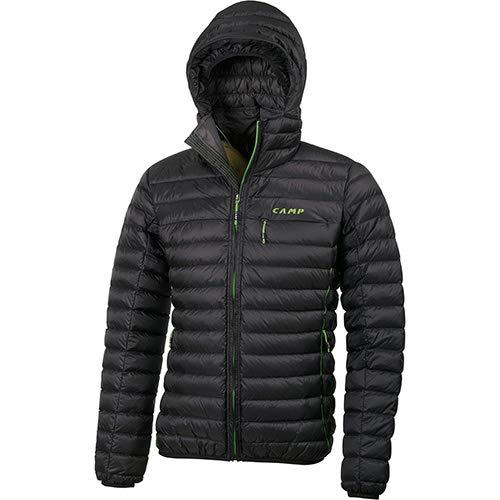 C C.A.M.P. Camp ED Protection Jacket Men's - Giacca Piumino Uomo con Cappuccio Nero Grigio Antracite (L)