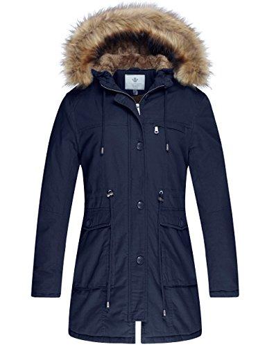 WenVen Damski zimowy płaszcz, wiatroszczelna kurtka outdoorowa klasyczna bawełniana kurtka ze sztucznego futra, płaszcz, średniej długości
