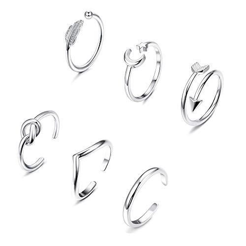 YADOCA 6 Pcs Verstellbare Ringe für Frauen Mädchen Einfacher Pfeilknoten Wave Mond Stern Ring Stapelbarer Finger Daumen Knuckle Ring Nagel Offene Ringe Set Silber Gold Roségold
