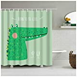 zxcyl Cartoon Art Design Grün Nettes Krokodil Mit Rauer Haut Hat Einen Langen M& Dinosaurier Fuchs Stoff Duschvorhang Für Zuhause Bad Decor * 200 * 180 cm