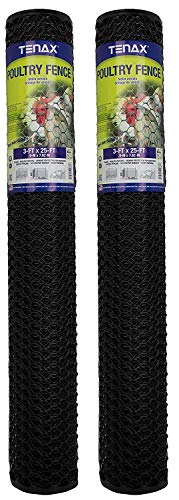 Tenax 72120546 Hex Poultry Fence, 3' x 25' Black (Pack of 2)