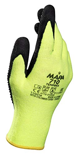 "MAPA Temp-Dex 710 Nitrile Lowweight Glove, High Temperature, 10-1/4"" Length, Size 7, Black/Green"
