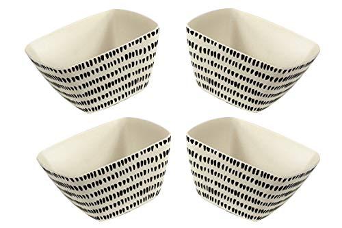 B&F Set de 4 Bowls de Fibra de Bambú, Cuenco para Cereales, Bowl Cereales,Hechos a Mano de Bambú Natural.