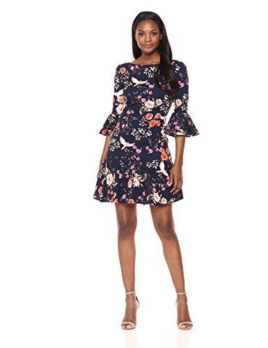 Eliza J Women's Bell Sleeve Shift with Flounce Hem Dress, Navy, 10