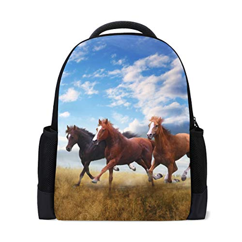 ISAOA Kinder-Rucksack, Schultasche für Mädchen und Jungen, kleine Herde von Pferden, lässiger Rucksack, Tagesrucksack, Laptop-Rucksack