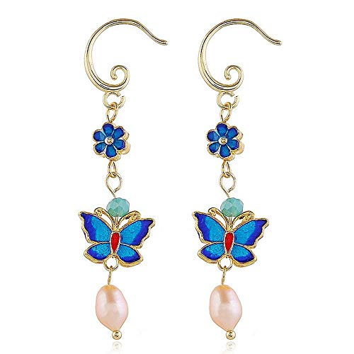925 Sterling Silver Cloisonne craftsmanship freshwater pearl ancient style earrings, Good Quality Jewelry Earrings for Women Girl Anniversary Wedding birthday Mother's Day Gift