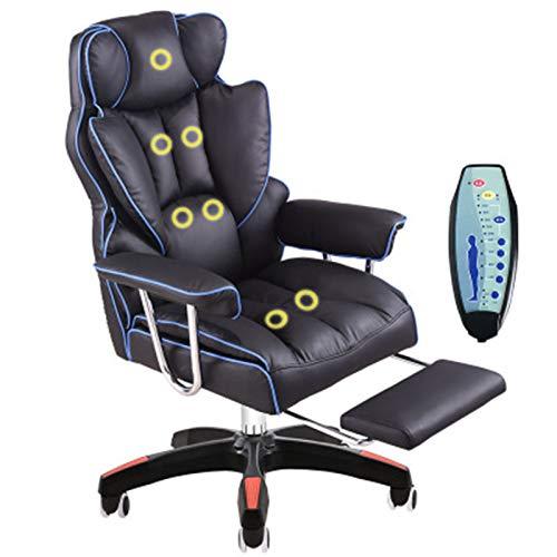 Wsaman Massage Gaming Stuhl, Ergonomischer Gaming Stuhl mit Fußstützen Armlehne für Büro Hause und Schlafzimmer,Blau