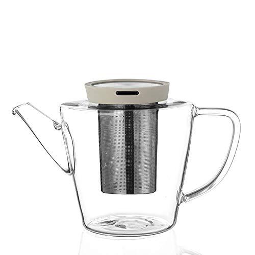 VIVA scandinavia Teekanne Glas mit Edelstahl Sieb und Deckel, 3 teilig, Zubereitung von losen Tee, mit Henkel, tropffrei, Deckel beige