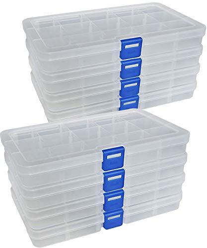 Qualsen Plastik Aufbewahrungsbox Einstellbar Fächer Sortimentskasten Schmuckschatulle Werkzeugcontainer (15 Raster X 8 Packungen, Transparent)