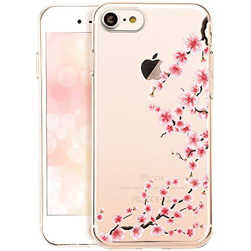 OOH!COLOR Handyhülle kompatibel mit iPhone SE 2020, iPhone 7/8 Hülle transparent Blume dünn Bumper Silikon Schutzhülle durchsichtig Case mit Motiv Rose Blumen
