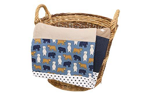 Colcha para bebé de ULLENBOOM ® con beige oso (manta de arrullo...