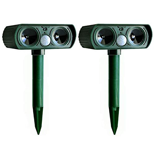 laiwu 2 Pcs Solar Powered Army Green Color Ultrasonic Pest Repeller Cat Dog Deterrent Scarer Repellent for Outdoor Use Garden Supplies