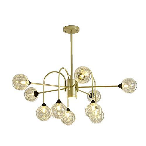 NZDY Lámpara Sputnik de 6 Luces, Accesorio de Iluminación Colgante Dorado Ajustable, Accesorio de Luz de Techo Industrial Vintage para Comedor, Cocina, Sala de Estar,Pantalla de Alambre de Aluminio,1