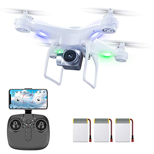 60 Mins Flight Time Drone,XINGRUI H96 RC Drone with 1080P HD Camera Live Video 5 Ghz WIfi FPV, Quadcopter with Headless Mode, Altitude Hold Helicopter with 3 Batteries