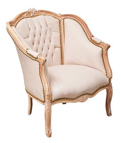 Biscottini Fauteuil style Français Louis XVI en bois de hêtre massif L80 x PR82 x H94 cm