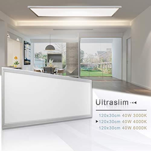 LED Panel Deckenleuchte Wandleuchte 120x30CM 40W Neutralweiß 4000K Silberrahmen LED Lampe Ultraslim Einbauleuchte mit Befestigungsmaterial und Trafo