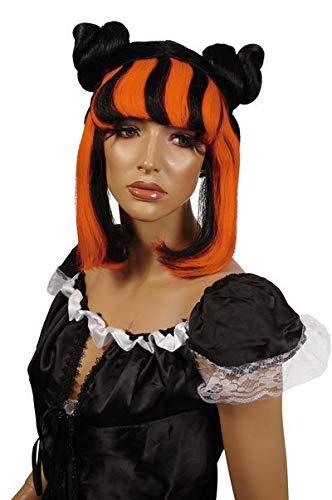 Perruque Kenza noire et orange femme