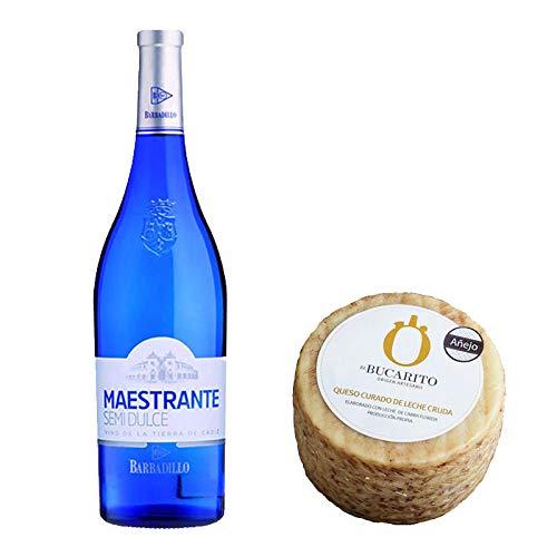 Pack de Vino blanco Maestrante y Queso Curado de Leche Cruda Añejo - Vino de 75 cl y Queso de 800 g aprox - Mezclanza