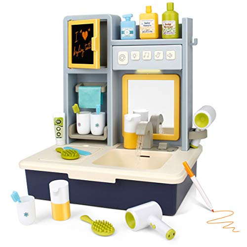 Electronic Pretend Play Circulation Sink Toy Set,Kids Vanity Sink Toy With Running Water,Music & Lights,Learning Toy With Draw Board,Mirror,Simulation Toy Accessories,Best Gift for Toddlers Boys Girls