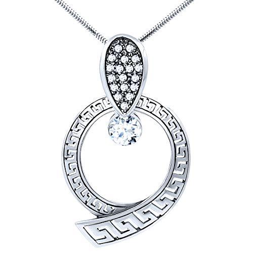 Halskette mit Anhänger aus 925er Sterlingsilber, griechischer Stil, griechischer Stil, für Frauen, kubische Zirkonia-Kristalle