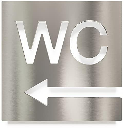 Letrero para WC - señalización autoadhesiva de acero inoxidable para el baño - instalación sin herramientas - flecha a la izquierda - rótulo para inodoro - INOXSIGN W03