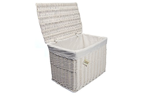 Large White Wicker Storage Basket,Storage Chest Trunk Hamper W/Cloth Linning